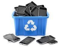 Mobiles in blue recycle crate royalty free illustration