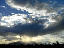 Beautiful sky and clouds with sunray Royalty Free Stock Photography