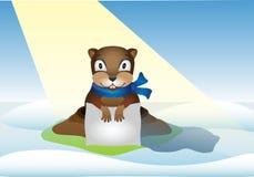 MobileThe groundhog såg ut ur hålet och såg dess skugga Groundhog dag - Februari 2 stock illustrationer