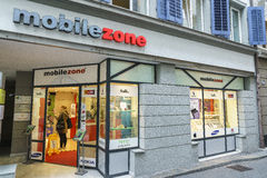 Mobilezone Communications retail store in Lucerne, Switzerland. Very high resolution, 42.2 megapixels Stock Photos