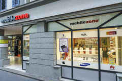 Mobilezone Communications retail store in Lucerne, Switzerland. Very high resolution, 42.2 megapixels Royalty Free Stock Photo
