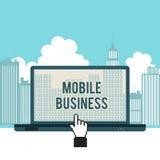 Mobilfunkgeschäft-Stadt-Laptop-Konzept Lizenzfreie Stockbilder