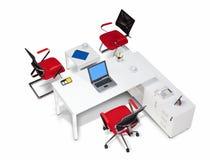 Mobiliário de escritório em uma opinião superior do fundo branco imagens de stock