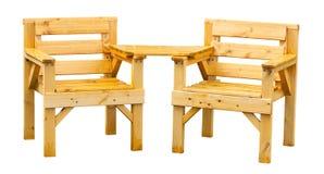 Mobili da giardino di legno molli Fotografia Stock