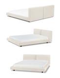 Mobilia beige moderna del letto Fotografia Stock