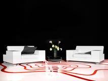 Mobilia bianca nell'interno moderno illustrazione vettoriale