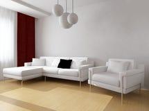 Mobilia bianca nell'interno moderno illustrazione di stock