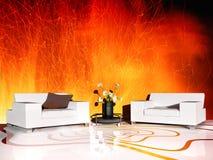 Mobilia bianca nell'interno moderno royalty illustrazione gratis