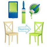 Mobilia che ridipinge il rullo degli strumenti, spazzola, barattolo di pittura e sedia di legno dipinta illustrazione di stock
