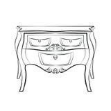 Mobilia classica della tavola con gli ornamenti di lusso reali Immagini Stock Libere da Diritti