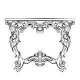 Mobilia classica della tavola di vettore barrocco reale con gli ornamenti Immagini Stock Libere da Diritti