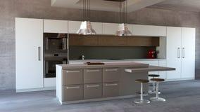Mobilia della cucina, interior design Mobilia ed apparecchi per la cucina Immagine Stock Libera da Diritti