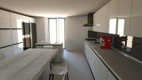 Mobilia della cucina, interior design Mobilia ed apparecchi per la cucina Fotografia Stock