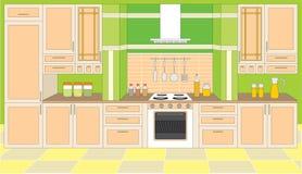 Mobilia della cucina. Interiori. illustrazione vettoriale