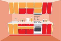 Mobilia della cucina. Interno. royalty illustrazione gratis