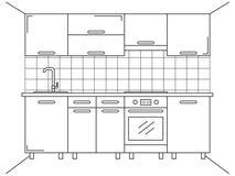 Mobilia della cucina Schizzo nella linea stile Cucina di piano Immagine Stock Libera da Diritti