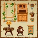 Mobilia di legno antica sui precedenti beige Fotografia Stock Libera da Diritti