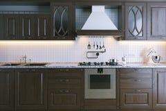 Mobilia di legno classica della cucina Primo piano 3d rendono Fotografia Stock Libera da Diritti