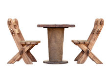 Mobilia di legno degli isolati del giardino Immagini Stock Libere da Diritti