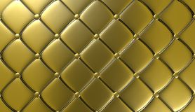 Mobilia di lusso del cuoio dell'oro, carta da parati, illustrazione Immagine Stock