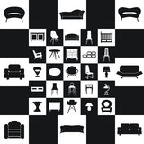 Mobilia domestica, insieme di progettazione di massima delle illustrazioni, vettore Fotografie Stock