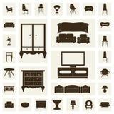 Mobilia domestica, insieme di progettazione di massima delle illustrazioni, vettore Immagini Stock