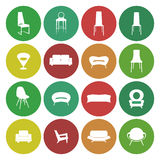 Mobilia domestica, insieme di progettazione di massima delle illustrazioni, vettore Fotografia Stock Libera da Diritti