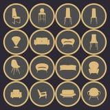 Mobilia domestica, vettore Illustrazione domestica di vettore degli interni Fotografia Stock