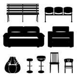 Mobilia e sedile della siluetta Fotografie Stock
