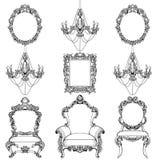 Mobilia e strutture di Rich Baroque Rococo messe Il lusso francese scolpito orna gli accessori dei candelieri Vittoriano di vetto royalty illustrazione gratis