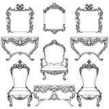 Mobilia e strutture di Rich Baroque Rococo messe Ornamenti scolpiti lusso francese Stile squisito vittoriano di vettore decorato illustrazione di stock