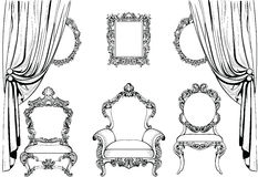 Mobilia e strutture di Rich Imperial Baroque Rococo messe Ornamenti scolpiti lusso francese Stile squisito vittoriano di vettore royalty illustrazione gratis