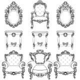 Mobilia e strutture di Rich Imperial Baroque Rococo messe Ornamenti scolpiti lusso francese Stile squisito vittoriano di vettore illustrazione vettoriale