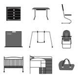 Mobilia ed attributo per i bambini illustrazione vettoriale