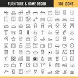 Mobilia ed icona domestica della decorazione Illustrazione di vettore Immagine Stock