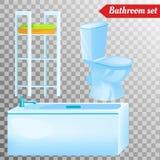 Mobilia interna del bagno ed attrezzatura differente Fotografie Stock Libere da Diritti