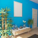mobilia interna e moderna del salone contemporaneo 3D fotografia stock libera da diritti