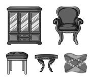 Mobilia, interno, progettazione, sedia La mobilia e le icone domestiche della raccolta del interiorset nello stile monocromatico  Fotografia Stock