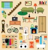 Mobilia messa per le stanze della casa Fotografia Stock