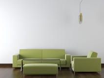 Mobilia moderna di disegno interno su bianco Immagine Stock