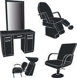 Mobilia per i saloni di lavoro di parrucchiere Fotografia Stock