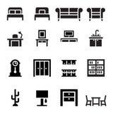 Mobilia, sofà, letto, guardaroba, tavolo da pranzo, interior design i Illustrazione Vettoriale