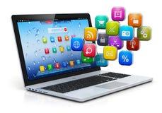 Mobilidade do computador e conceito de computação da nuvem Imagem de Stock Royalty Free