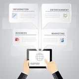 Mobilitätsspracheblase infographic und Schablone für Netz oder Darstellung Lizenzfreie Stockfotos