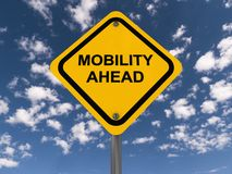 Mobility ahead. A traffic sign with the text mobility ahead stock photo