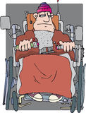 Mobility chair. Man with hat and blanket in mobility chair vector illustration