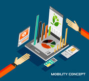 Mobility concept flat design. 3d tablet with graphics, calculator, movie, music concepts Stock Photo