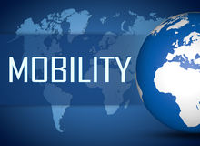 Mobility. Concept with globe on blue background royalty free stock photography