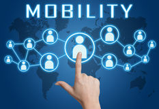 Mobility. Concept with hand pressing social icons on blue world map background stock illustration