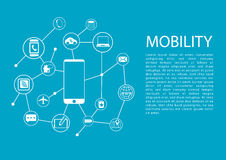 Mobility concept  illustration with smart phone and connected wireless devices Royalty Free Stock Photography